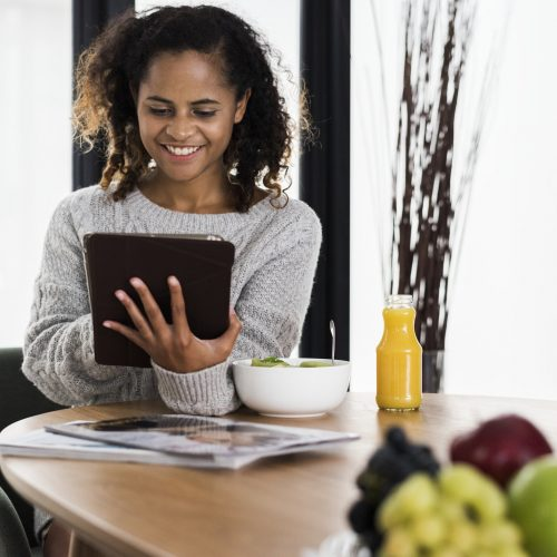 Healthy lifestyle woman using a tablet